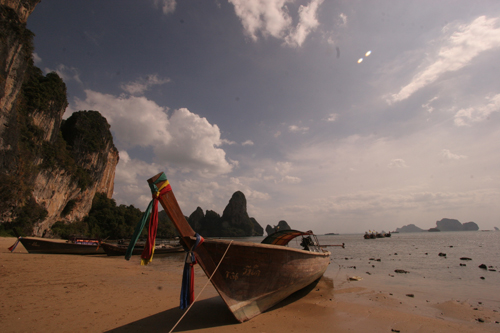 Tonsai Bay with Longtail Boat in Krabi