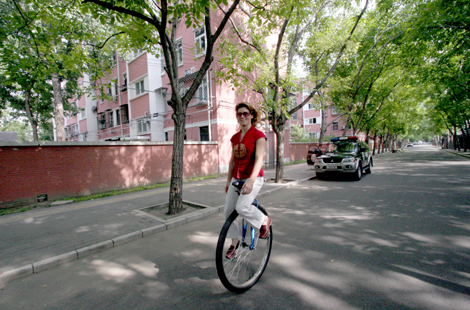 36″ inch Unicycle on the Streets of Beijing