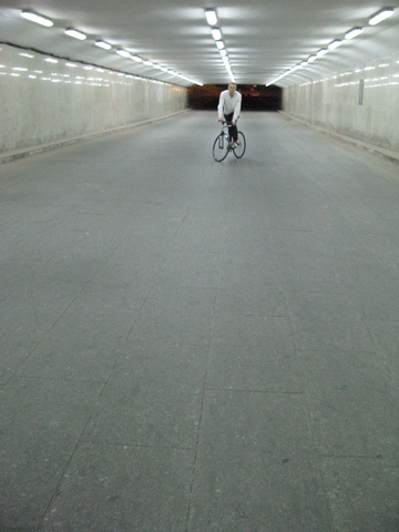 James Track Stand in Beijing Bike Tunnel