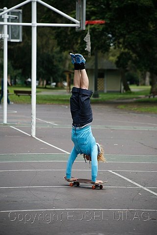 Skateboard Handstand Trick
