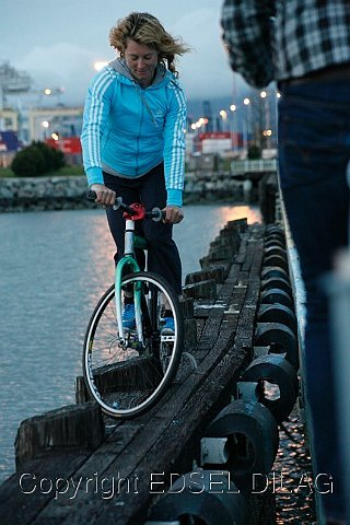 Ines Track Stand on Beam in San Francisco Bay