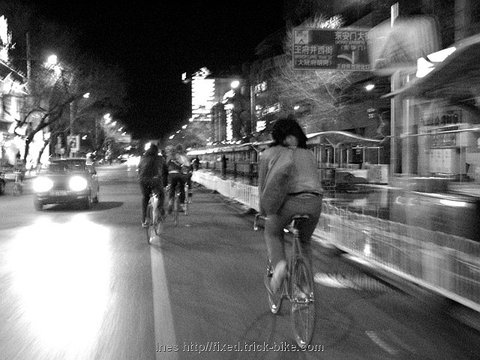 Fixed Gear Bikes on Beijings Streets at Night