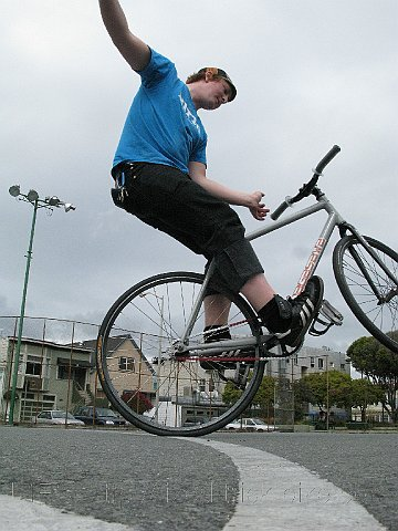 Clancy doing Fixed Gear Tricks