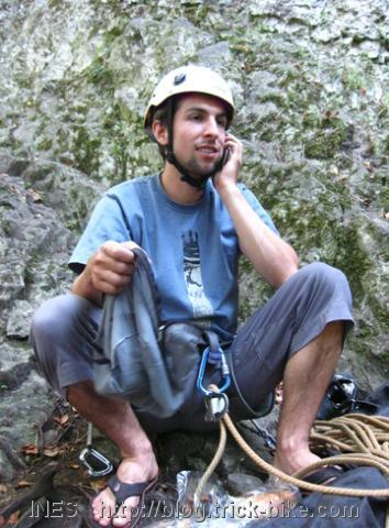 The Rock Climber on the Phone