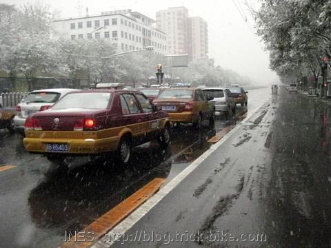 Snowy Beijing Avenue