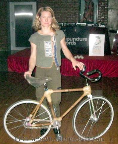 Ines after world's first trick performance on bamboo bicycle