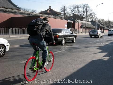 Julien riding his first Natooke fixed gear bike