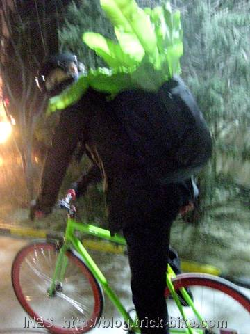 Julien in suit with plant on back riding fixed gear bike