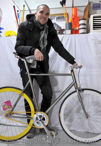 Nico and his fixed gear bicycle