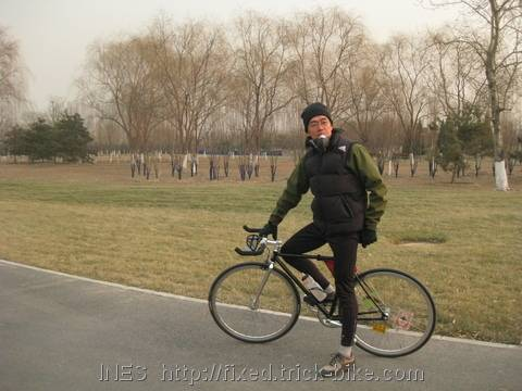Ricky and his fixed gear bike in park
