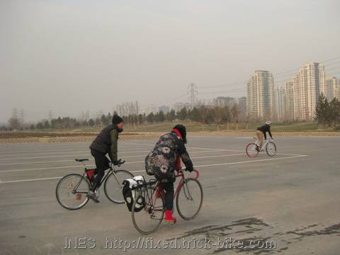 "Cycling on ""Leisure Square"" in Beijing"