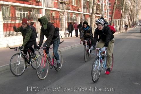 Beijing Fixed Gear Bike Group on Wide Bicycle Lane