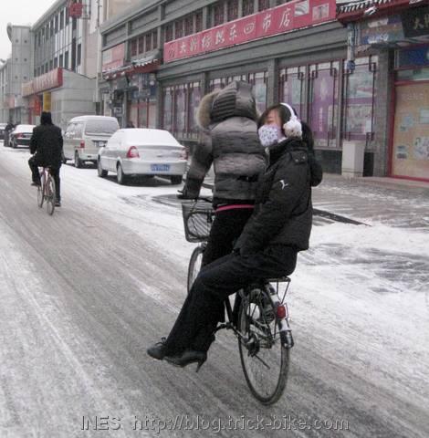 Girls Cycling in Snowy Beijing