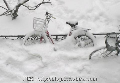 Beijing Bike covered by Snow