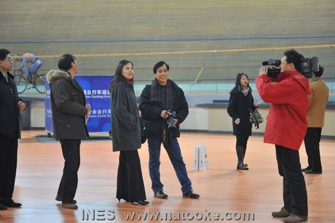 Officials Visiting the Beijing Laoshan Velodrome