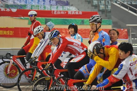 Chinese National Team Preparing for Keirin Race Start