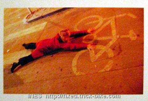 Ines Brunn Hugging a Beijing Bike Lane Bicycle Logo