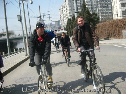 Cruising along the Beijing canal by bicycle