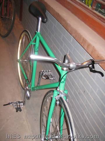 Beautiful Green Fixed Gear with Riser Style Handlebar