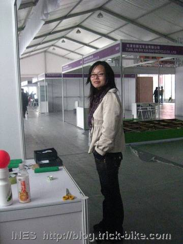 Samantha in almost empty exhibition hall