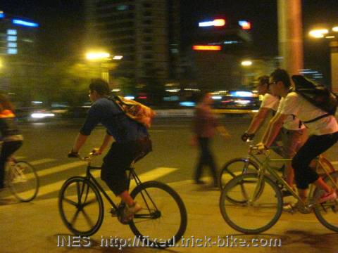 Riding at night in Beijing on Fixed Gear Bicycles