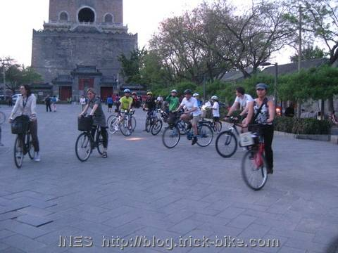 Heading out by Bike just after sun set in Beijing