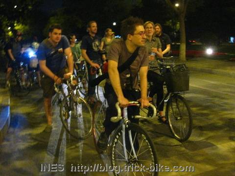 Friday Light Ride Cyclists in Beijing