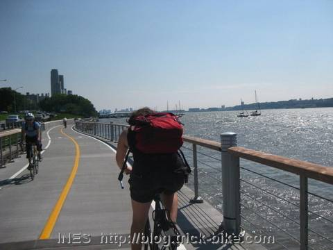 Cycling along the Hudson in the sunshine