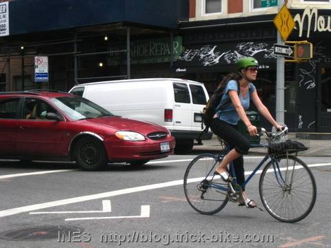 Woman with Helmet Cycling