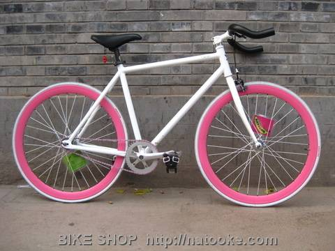 White with Pink Fixie Bike