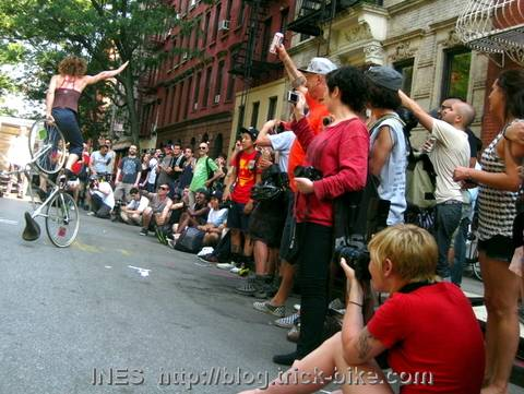 Bike Tricks and Cheering Crowd in NYC