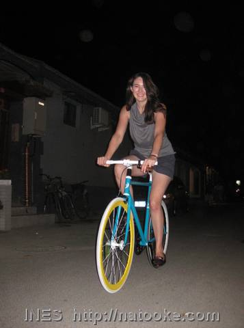 Vera on her Fixed Gear Bicycle