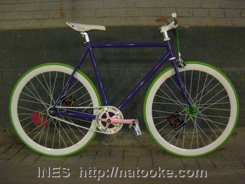 Purple and Green Flying Banana Bicycle