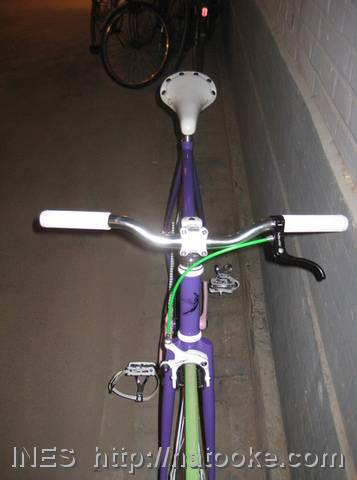 Bright Green and Purple Fixed Gear Bike
