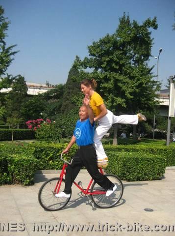 Yu and Ines Bike Tricks