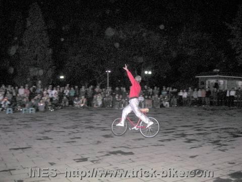 Yu Changqing infront of Bike Enthusiasts