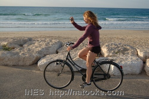Ines on a single speed bicycle