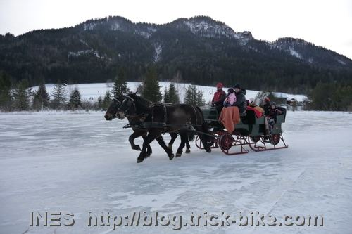 Horse Sleighs on Weissensee in Austria