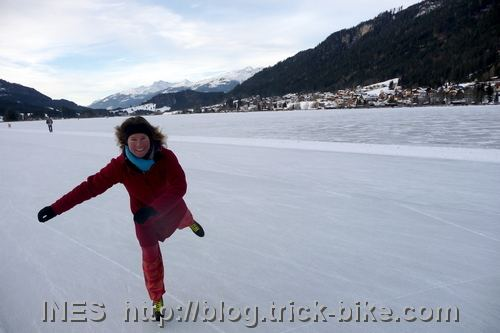 Ines Brunn ice skating on the Weissensee