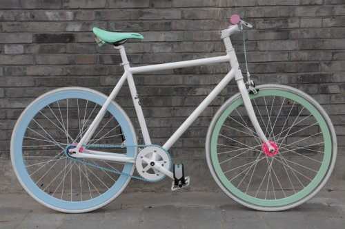 White Flying Banana Fixed Gear Bike by Natooke