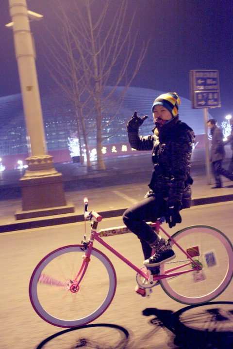 Suan Suan Riding her Flying Banana Fixed Gear Bike