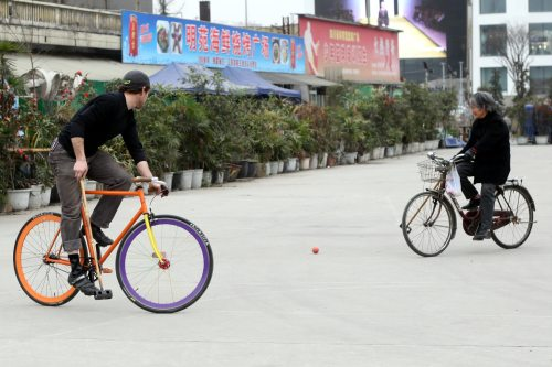 Amazing Chinese Woman Playing Bike Polo